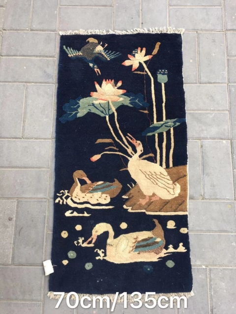 "Chinese Baotou rug,  blue backpack with ""Mandarin duck playing in the water "" pattern. Good age and condition. Size 135*70cm(