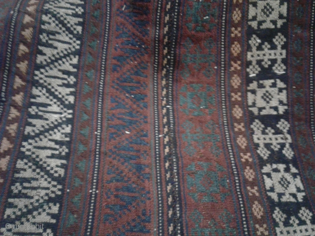 Here You see an antique persian-kurdish jajim/kelim from the middle of the 19th century. vegetable colors. wool on wool. size:150*100cm In good condition considering its age. This kind of jajim is called Shagha.geometrical patterns are seen on  ...