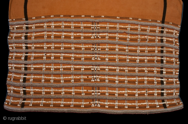 """Skirt (Isikhakha or Umbhaco), Xhosa or Mfengu peoples, South Africa. Cotton, wool, glass beads, shell buttons, ochre pigment. 20th century. 61"""" (154.5 cm) long by 54"""" (137 cm) wide.  Isikhakha or umbhaco were typically made from a  ..."""