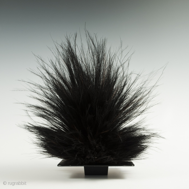 "Cassowary feather headdress, Western Highlands, Papua New Guinea. Cassowary feathers, string, Mid-20th century, 16"" (40.6 cm) high. This cassowary feather headdress is just placed on a black metal frog, which will be  ..."