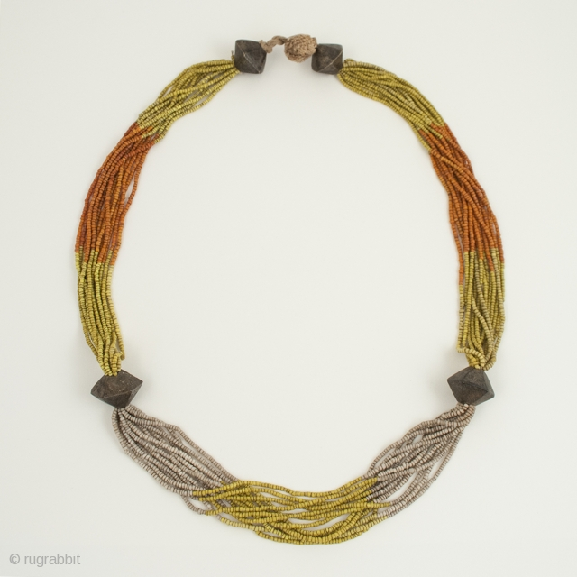 """Glass bead necklace, Khond people, Orissa, India. Glass trade beads, brass, cotton string, 33"""" (63.8 cm) long. Mid-20th century."""