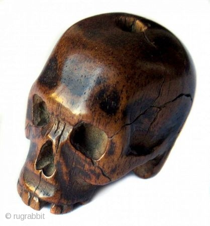 Unusual Antique Japanese Boxwood Skull Ojime
