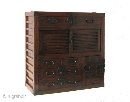 Original Antique Japanese Gifu accountants Choba Beautiful Japanese accountant's chest from the Gifu prefecture. Meiji period, 1868-1912. Wonderful mortison tennon joinery. The frame and surfaces are made of Keyaki wood, which is unusual.  ...