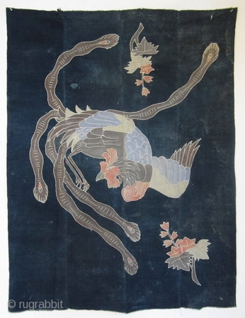 Japanese Antique Futon Cover with Phoenix  Beautiful Japanese antique futon cover, made in 4 panels of indigo dyed cotton, paste resist design of a phoenix and leaves, beautiful colors.   Meiji Period (1868 -  ...