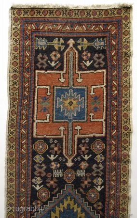Antique Hand-Woven Karaja Azerbaijan Runner Rug