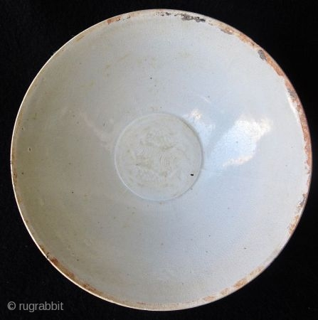 Antique Chinese Qingbai Bowl with Fish  Chinese qingbai porcelain bowl, egg shell thin body with pale celadon crackle glaze. The well of the bowl incised with two swimming fish over waves, the edges  ...