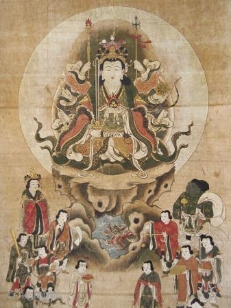Japanese Edo Buddhist Scroll Painting of Eight Armed Kannon  Japanese Buddhist scroll painting of Eight Armed Kannon , the bodhisattva of compassion, seated in a lotus position. In her other seven arms she  ...