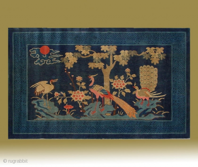 "No.Lu90 * Chinese Antique Rug ""Crane+Phoenixs+Flowers"". Age:Late 19th Century. Size:128x207cm(4'2""x6'9""). Origin:Baotou-Suiyuan. Shape:Rectangle. Background Color:Blues"