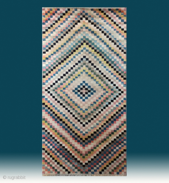 """No.CL058 * Tibetan Antique""""Rainbow Checkerboard"""" Rug.Age:19/20th Century.Size:90x172cm(2'11""""x5'8"""").Origin:Tibetan. Shape:Rectangle.Background Color:Off-whites,lvory. wool/wool. This exquisite rainbow checkerboard rug has the striking visual appeal of modern Western op-art. Many Westerners are surprised by the contemporary appeal of  ..."""