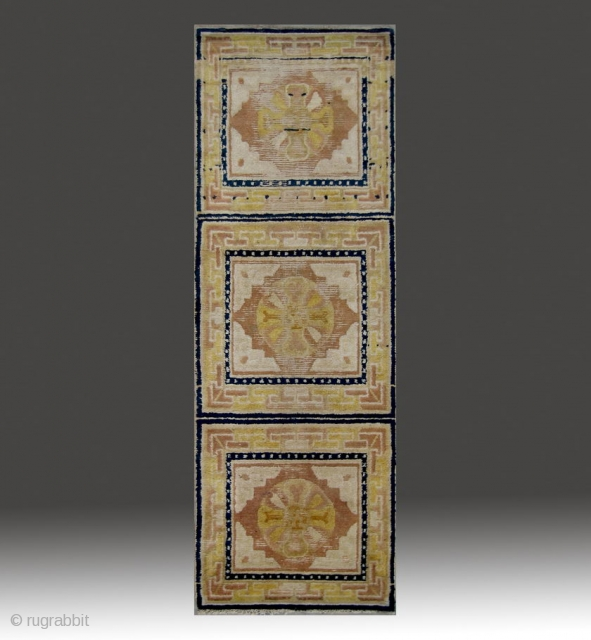 "No.CL042 * Chinese Antique Ningxia Rug-Runner. Age:18th Century. Size:70x197cm (2'4""x6'6"").  Origin:Ningxia.  Shape:Rectangle. Background Color:The Red Wood Color.