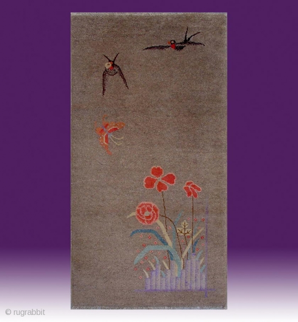 "No.X0023 * Chinese Antique ""Swallows + Peony "" Rug. Age: 19/20th Century.Size: 63x120cm (25""x47""). Origin: Baotou. Shape: Rectangle. Background Color: Camel Colors."