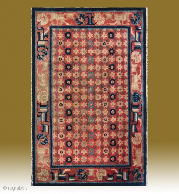 """No.CL039 * Chinese Antique """"Flower Lattice Brocade Pattern"""" Rug,  Size:120x186cm(47""""x73""""). Age:19th Century..Origin: Baotou-Suiyuan.Shape: Rectangle. Background Color: Reds. This carpet from inner Mongolia features a field of the flower lattice brocade pattern. The  ..."""