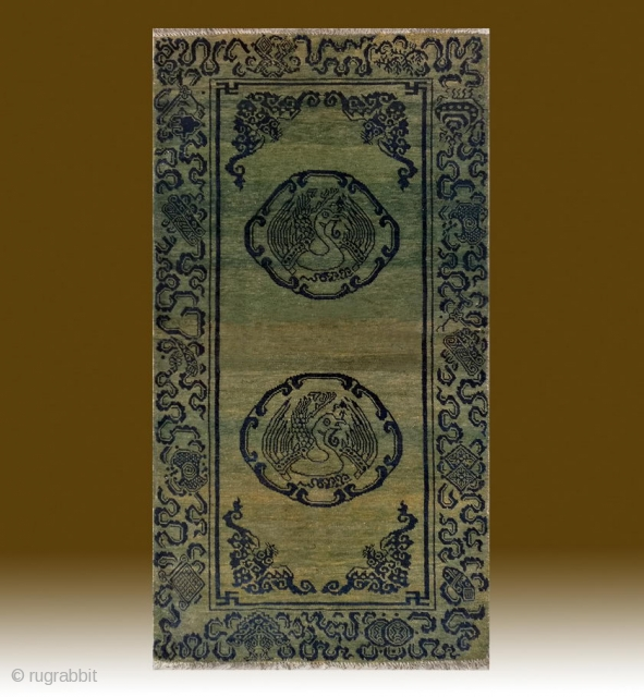 "No.CL040 * Tibetan Antique ""Auspicious Phoenix Design"" Rug. Size:83x155cm(33""x61""). Age:19th Century. Origin:Tibet. Shape:Rectangle. Background Color:Greens"