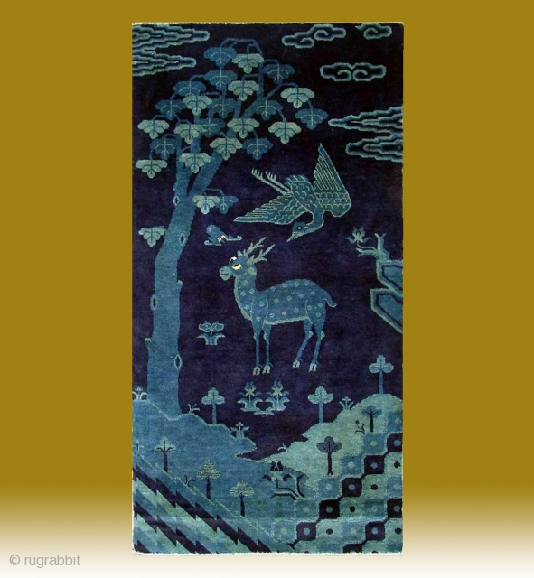 "No.R071 * Chinese Antique ""Deer + Crane"" Rug,Size: 78x153cm(31""x60"").Age: 19th Century. Origin: Baotou.Shape: Rectangle.Background Color: Blues."
