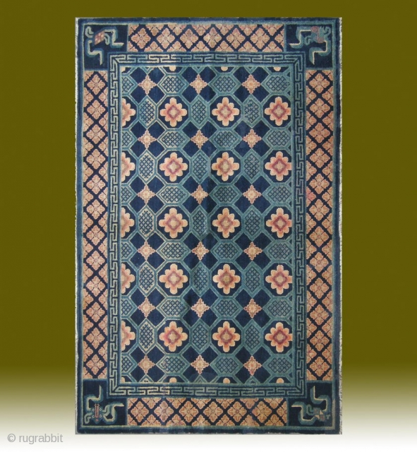 "No.CL044 * Chinese Antique ""Turtle Back Design"" Rug. Age:19th Century.Size:130x201cm(4'3""x6'7""). Origin:Baotou-Suiyuan. Shape:Rectangle. Background Color:Blues."