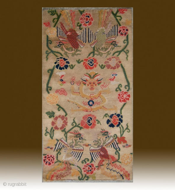 "No.CL007 * Tibetan Antique ""Super Dragon & Four Phoenix"" Rug..Age: 20th Century. Size:87x164cm(34""x65""). Origin:Tibet. Shape:Rectangle. Background Color: Camels."