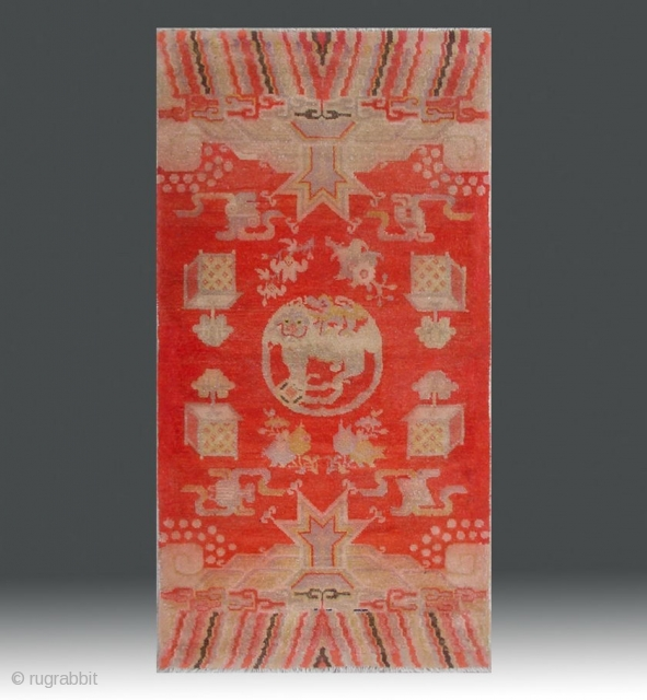 "No.R094 * Chinese Antique ""Fo-Dog"" Temple Rug , Age:Early 20th Century.Size:69x130cm(27""x51""). Origin:Baotou-Suiyuan. Shape:Rectangle. Background Color:Reds."