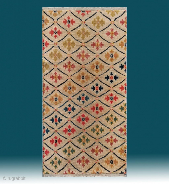 "No.R155 * Tibetan Antique Rug.Age: Early 20th Century.Size:76x148cm(2'6""x4'10"").Origin: Tibetan. Shape: Rectangle.Flower lattice pattern.Background Color: Off-whites,lvory.wool/wool."