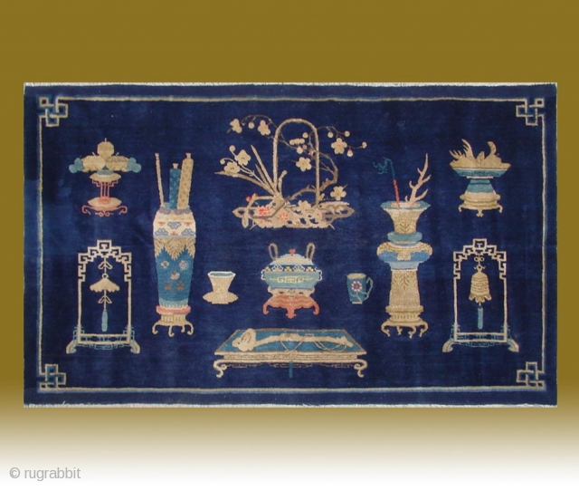 "No.CL047 * Chinese Antique ""Vase Design"" Rug, Age:20th Century.Size:99x166cm(3'3""x5'5"").