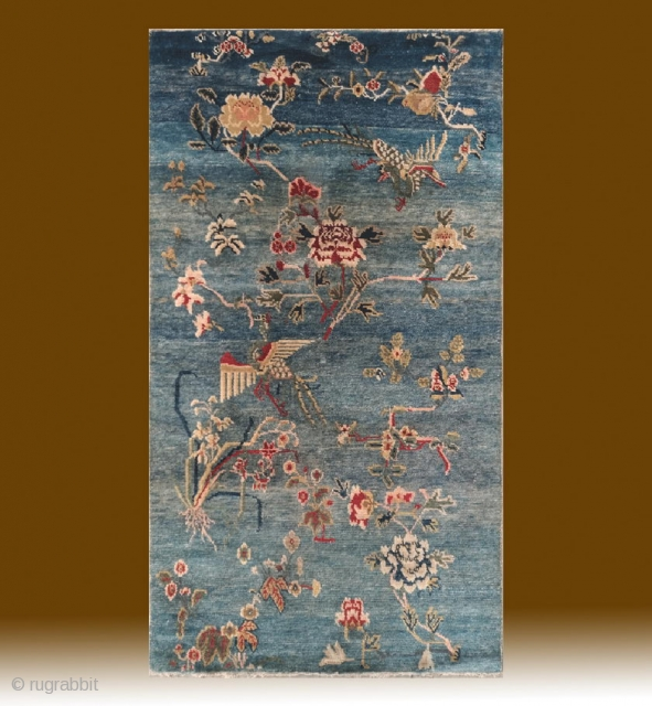 "No.CL035 * Tibetan ""Phoenixn & Flowers "" Rug. Age:Late 19th Century. Size:80x140cm(32""x55""). Origin:Tibet. Shape:Rectangle. Background Color:Blues.wool/wool"