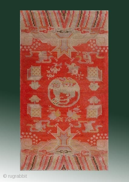 "No.R094 * Chinese Antique ""Lion"" Rug , Age: 19/20th Century. Size: 69x130cm(27""x51"").Origin: Baotou-Suiyuan.Shape: Rectangle. Background Color: Reds."