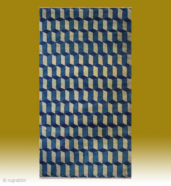 """No.CL037 * Chinese Antique """"Geometrical Design"""" Rug. Origin: Baotou-Suiyuan. Age:19th Century. Size: 77x140cm(2'6""""x4'7"""").Shape: Rectangle .Background Color: Blue and Gray. Cotton warp and weft, asymmetrical woollen knots in a good condition. All vegetable dyed."""
