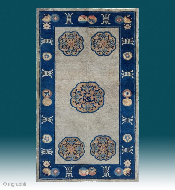 "No.X0007 * Chinese Antique Beijing Rugs ""Dragon"". Age: Early-20th Century. Origin: Beijing  Size: 120x206cm (3'11""x6'9"").Shape: Rectangle. Background Color: Off-whites,lvory."