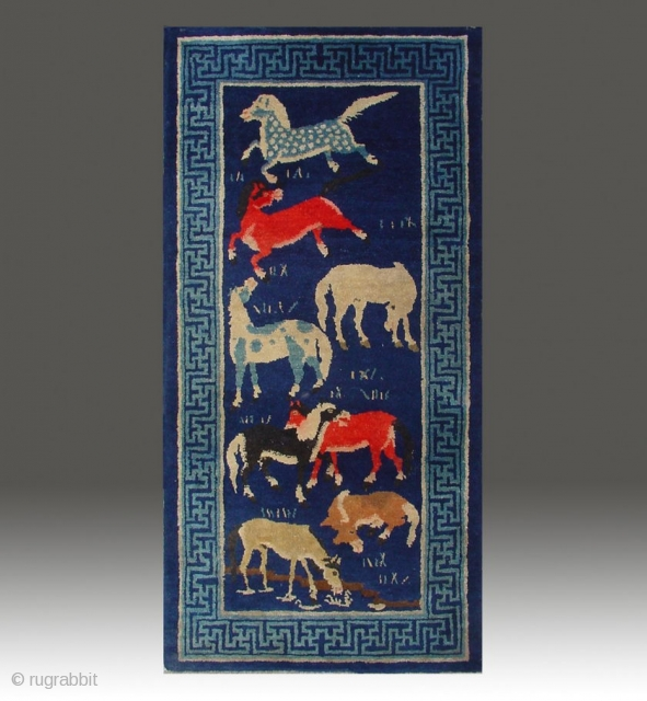 "No.P46 * Chinese Antique ""Eight Horses"" Rug , Age:Late 19th Century. Size:66x130cm(26""x51""). Origin:Baotou-Suiyuan. Shape:Rectangle. Background Color:Blues. Chinese Rug with Eight Horses, This is an unusual rug from Mongolia. The theme of this  ..."