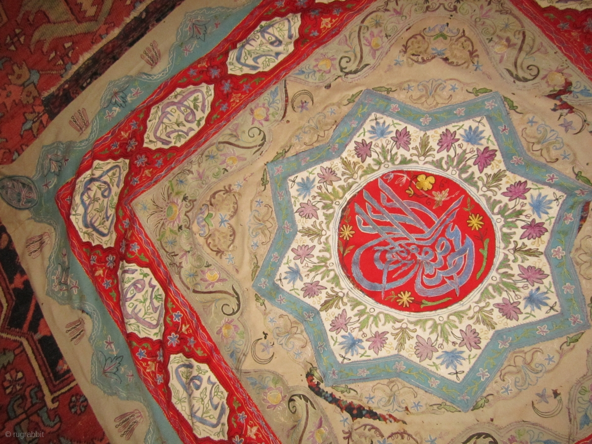 Antique Persian Rasht Embroidery Great Colors But Damaged