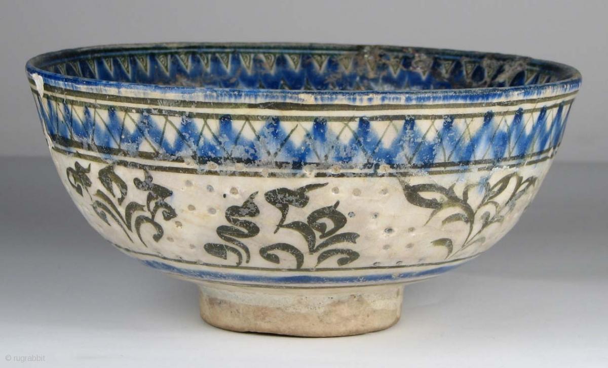 Isl0132 Persian Safavid Period Pierced Ceramic Bowl 17th