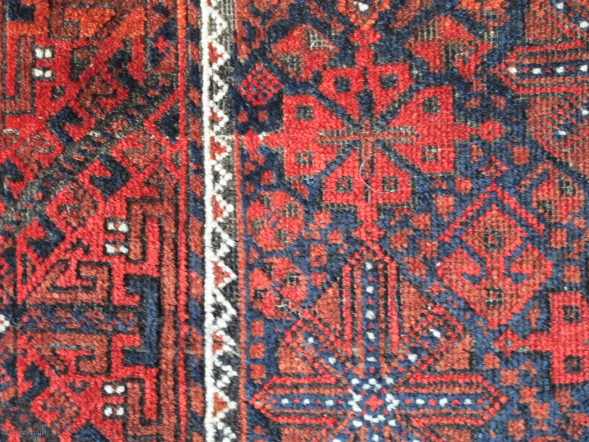 Luscious Arab Baluch Rug With Floating Chemches Saturated