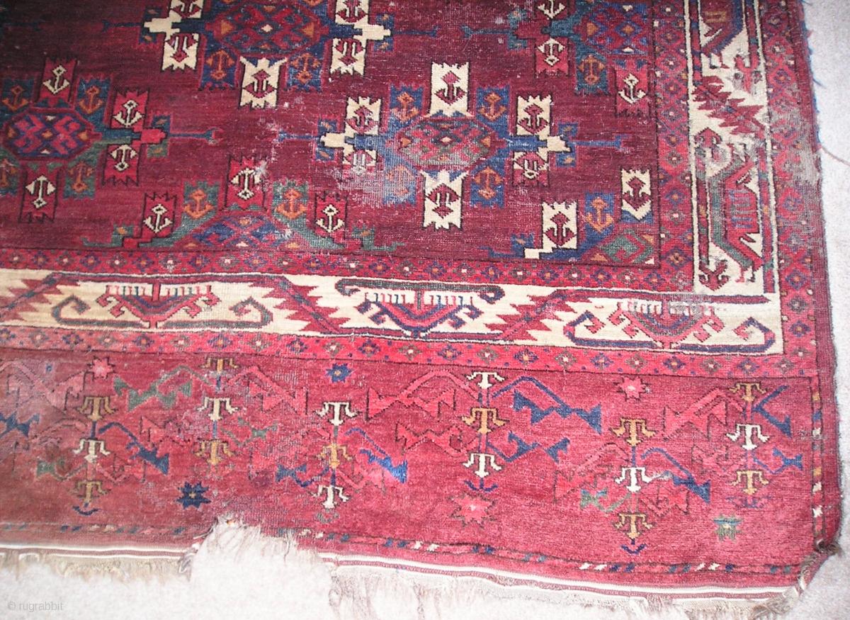 Yomut Turkmen Kepse Gul Main Carpet With A Boat Border