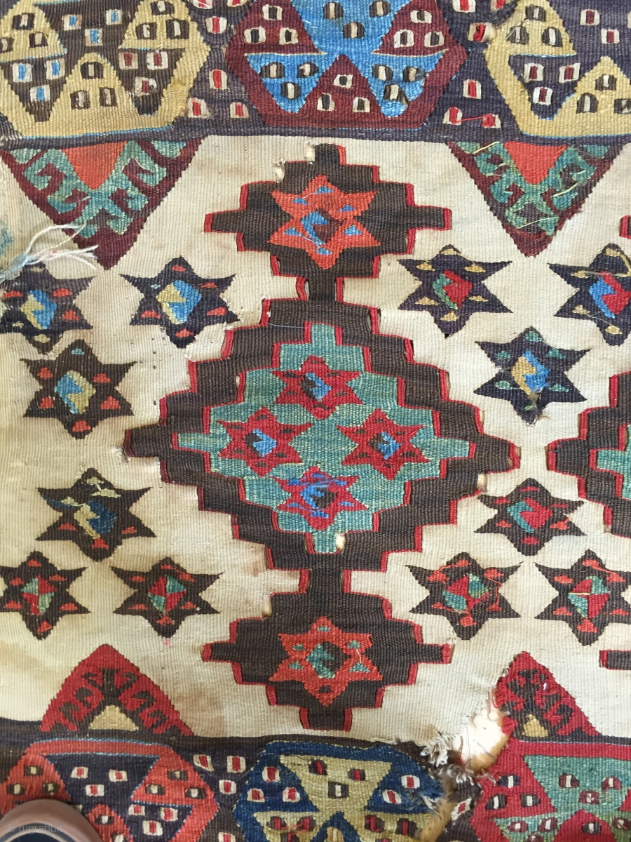 Kilim Fragment An Old Thing Dirty And Worn With Fantastic