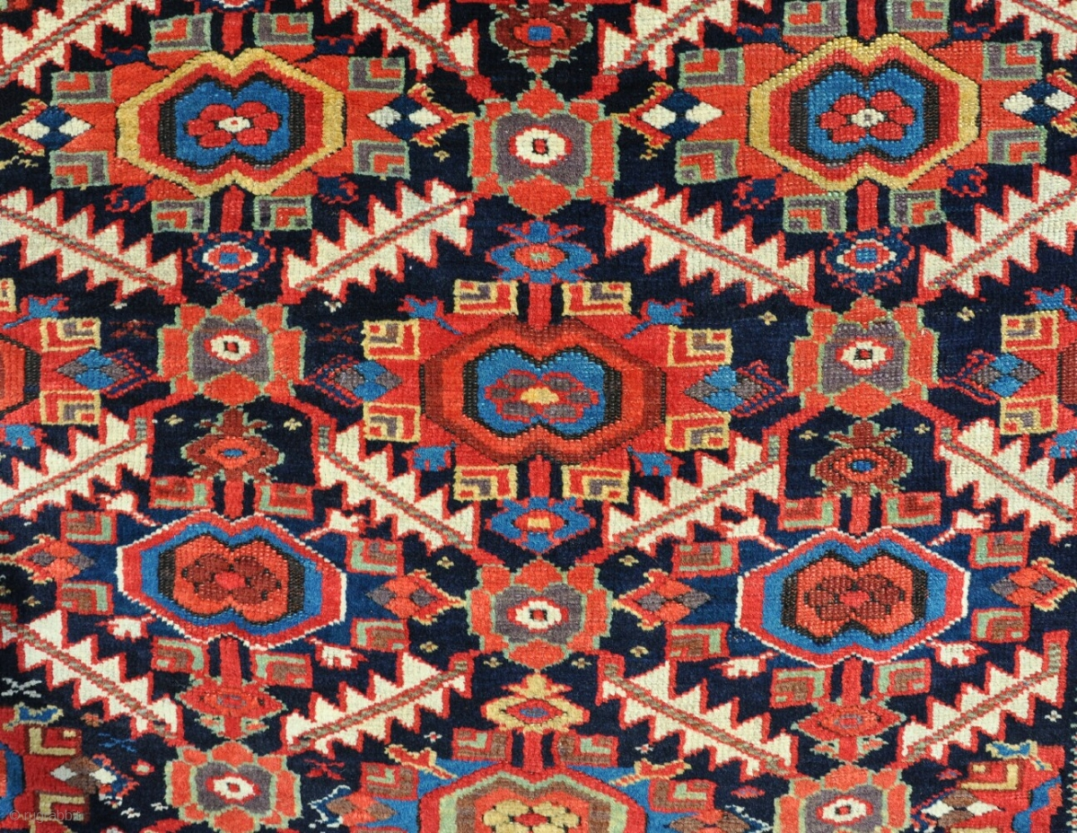 An Antique Kurdish Rug With Intense Dyes And Great Wool