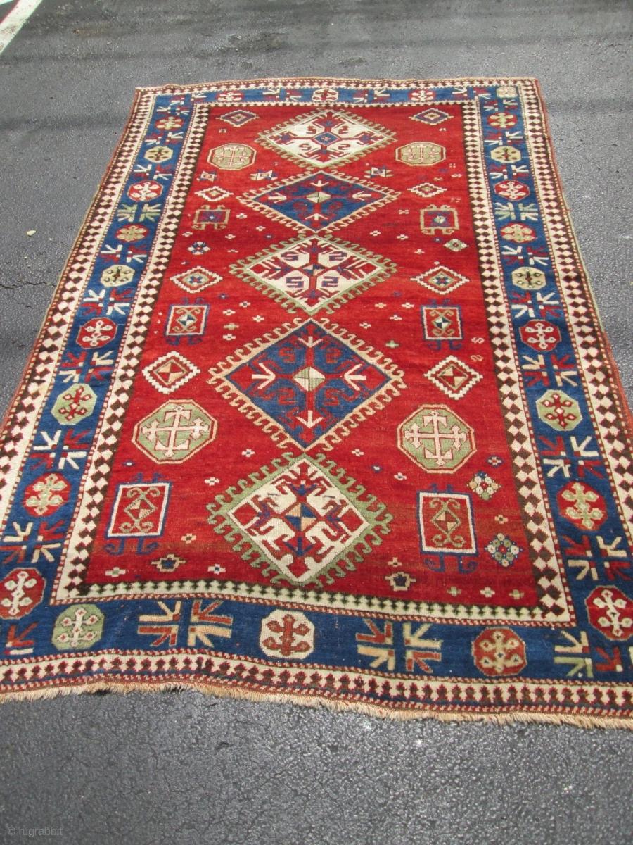 Antique Caucasian Kazak Size 5 X7 10 Condition Very