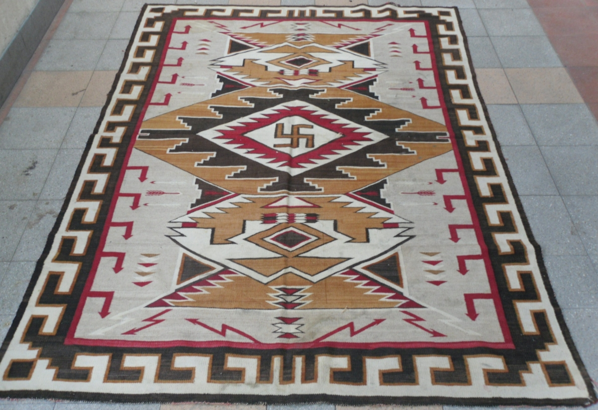 Large Antique Navajo Teec Nos Pos Jb Moore Rug From 1920 S