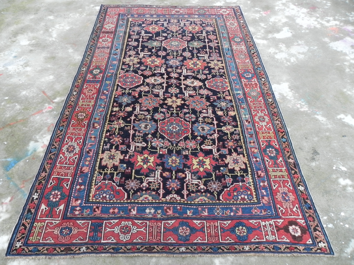 Antique Caucasian Afshan Kuba Blossom Rug 5 10 X 7 9 Ft