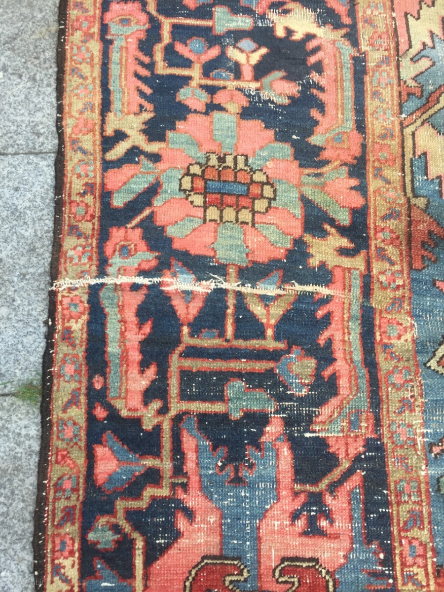 Antique Persian Oversize Serapi Heriz Carpet Very