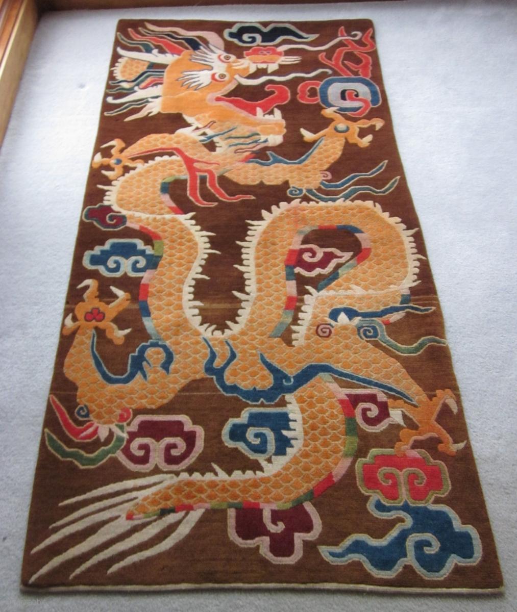 Antique Tibetan Rug: Tibetan, Decorative Dragon Grasping At Flaming Pearls In