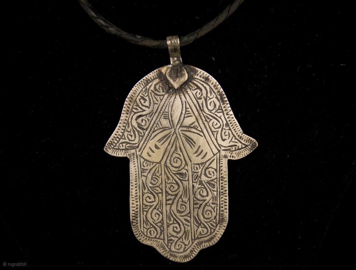 Old Berber Pure Silver Hamsa Or Fatima S Hand Hand Made