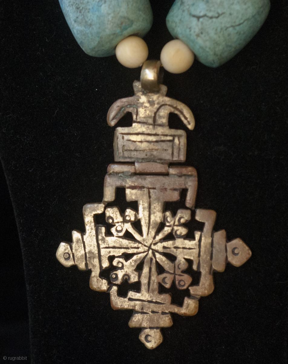 Old Bronze Lalibela Coptic Cross From Ethiopia Pendant