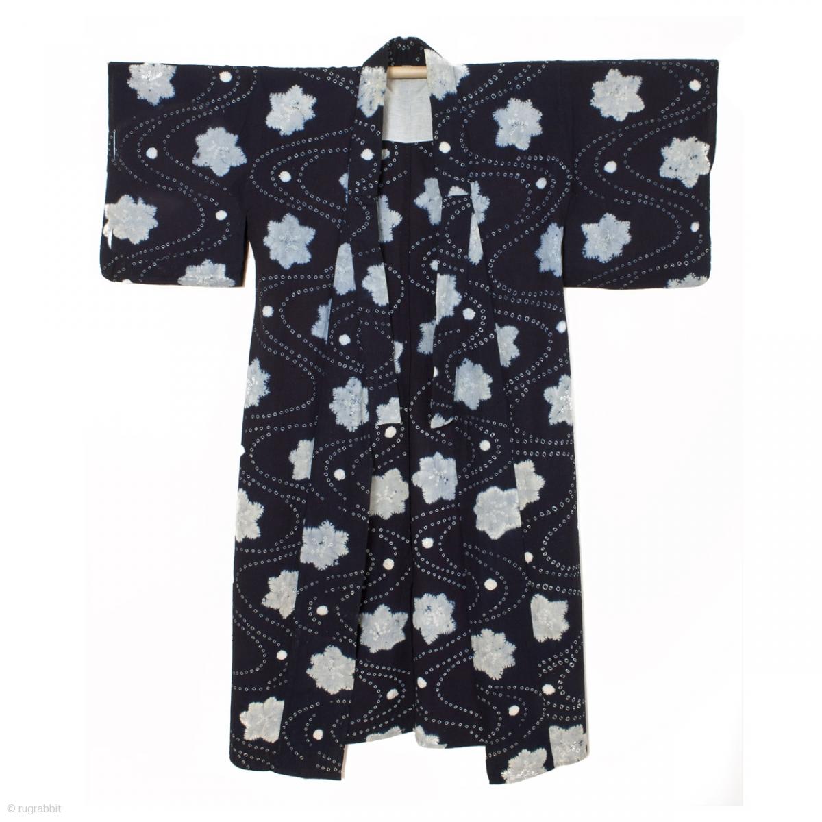 This Is A Japanese Indigo Dyed Cotton Shibori Kimono A