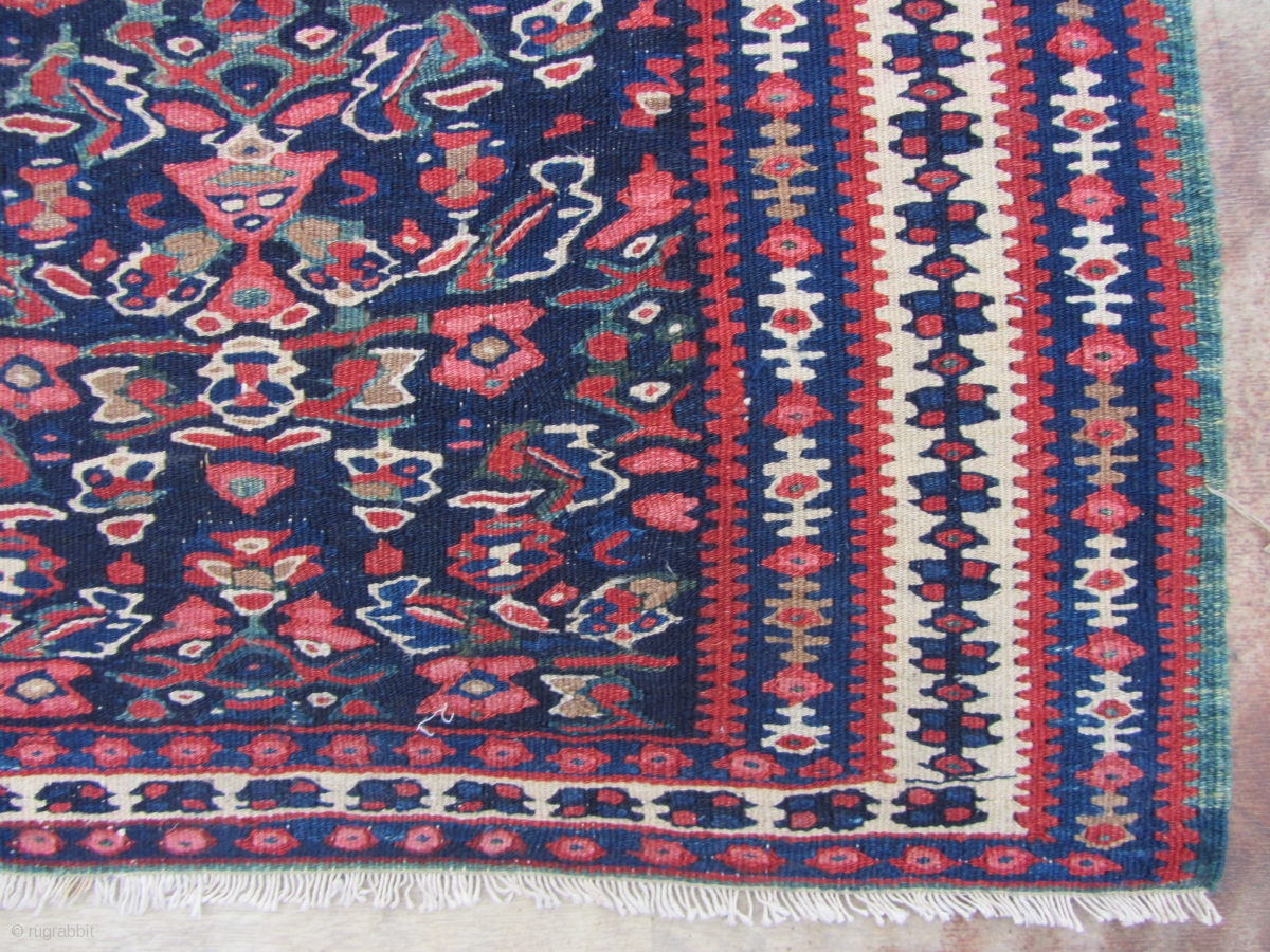 Antique Seneh Kilim Very Nice Colors And Very Nice