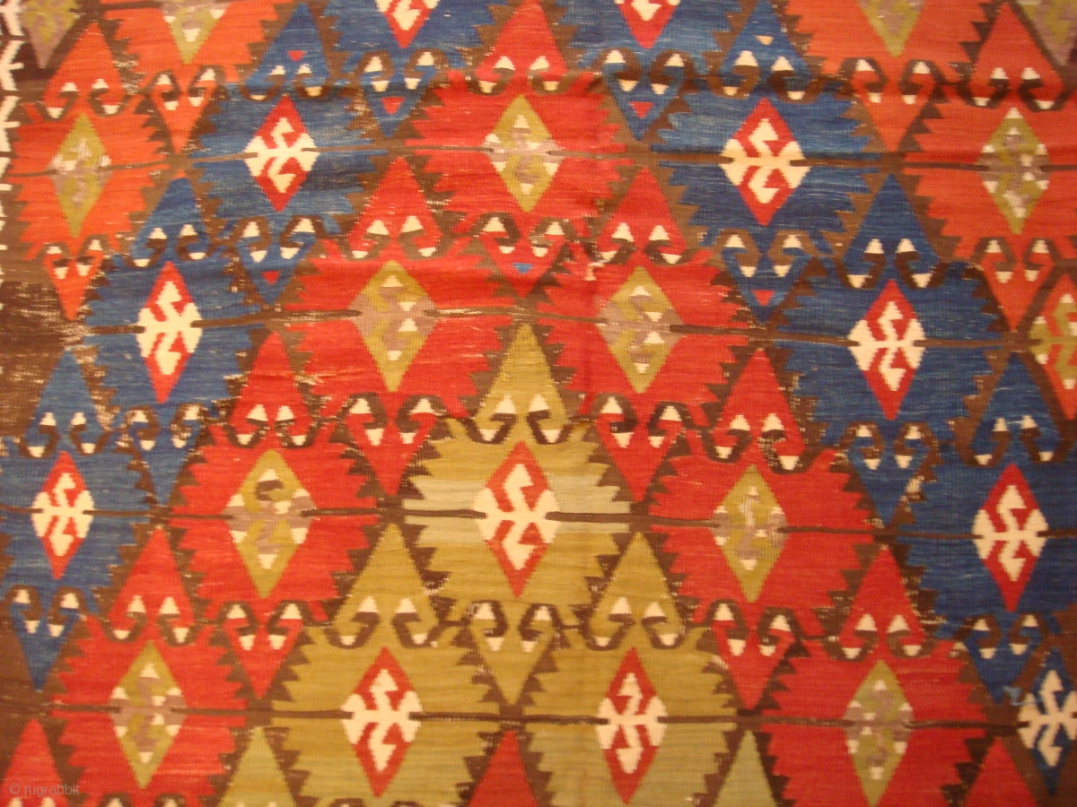 Antique Central Anatolian Kilim Wonderful Colours And Nice