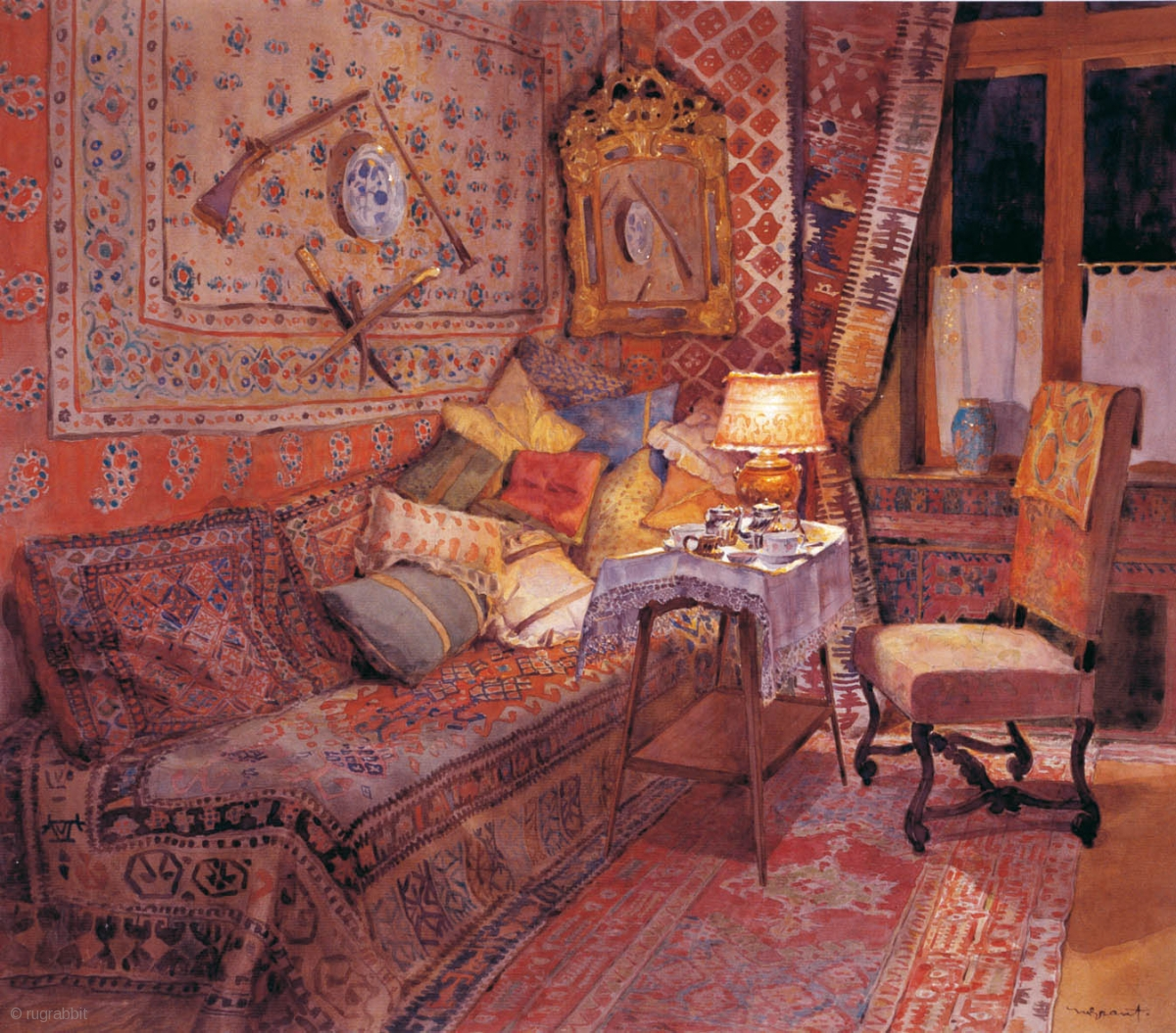 N Grant 1868 1950 Turkish Interior Watercolor 60 X