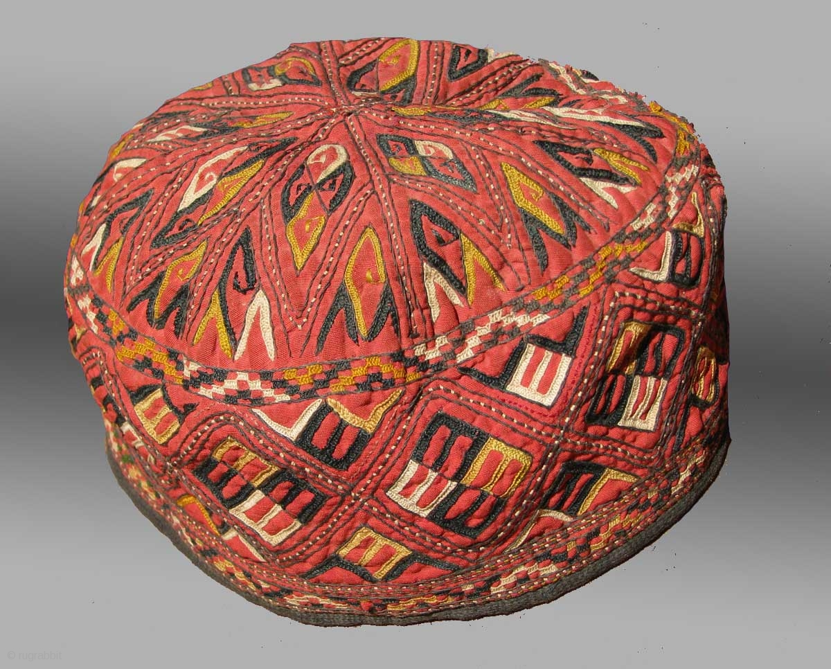 Tekke Turkmen Embroidered Hat Central Asia Late 19th