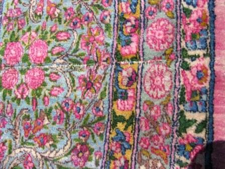 Persian Kerman Nice Wool Pink Blue Yellow Synthetic