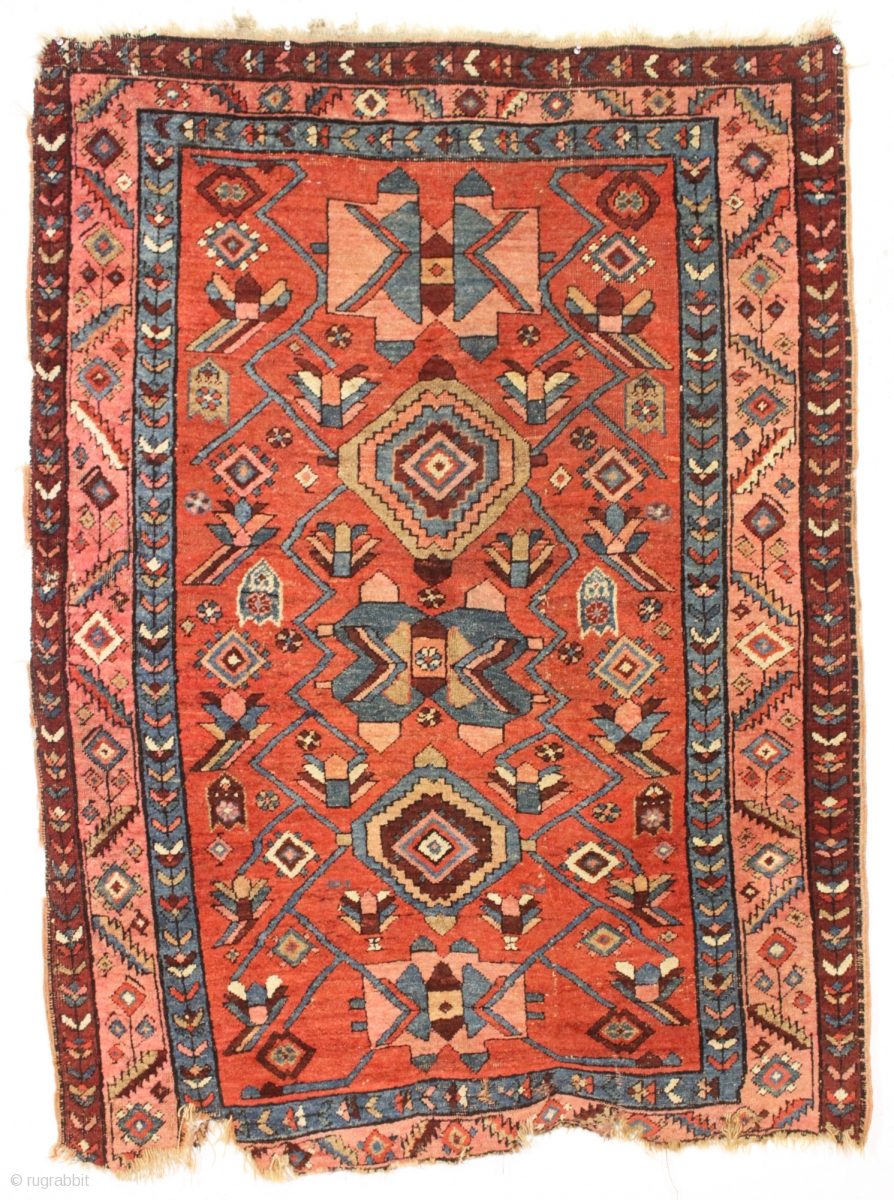 Antique Little Northwest Persian Rug With An Eye Catching