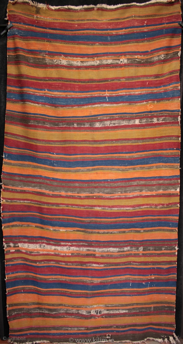 Rare Type Of Striped Antique Anatolian Kilim Made By A