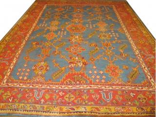 "Antique Ushak Carpet, 3.54m x 2.74m, (11'8"" x 9'). Decorative and available."